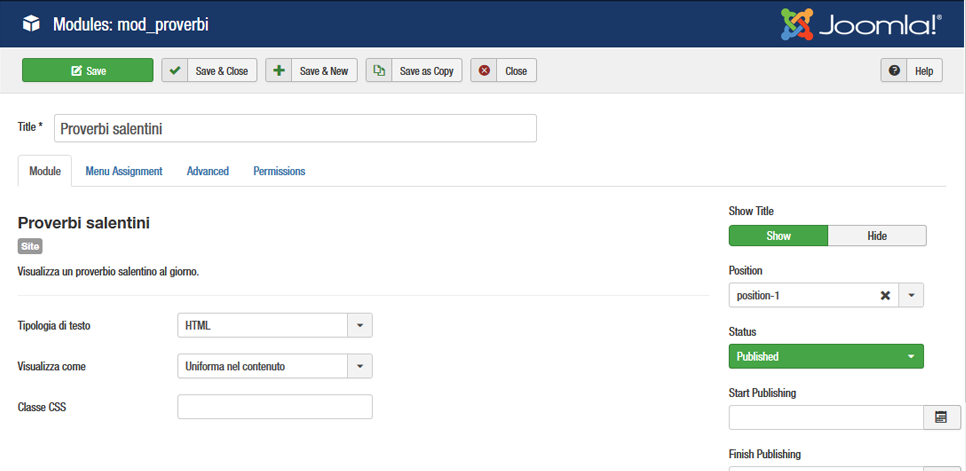 Screenshot configurazione modulo